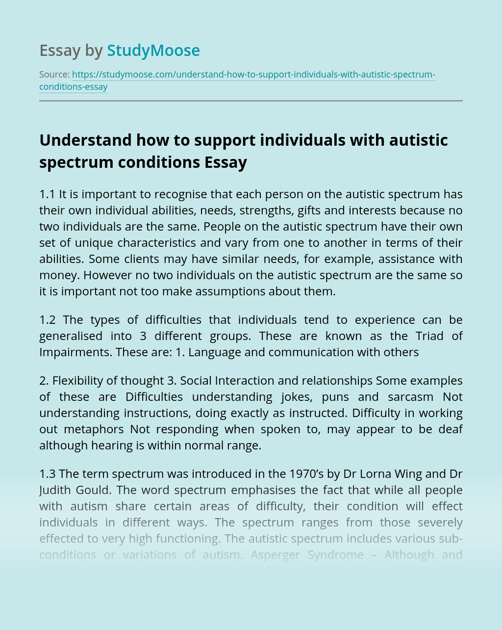 Understand how to support individuals with autistic spectrum conditions