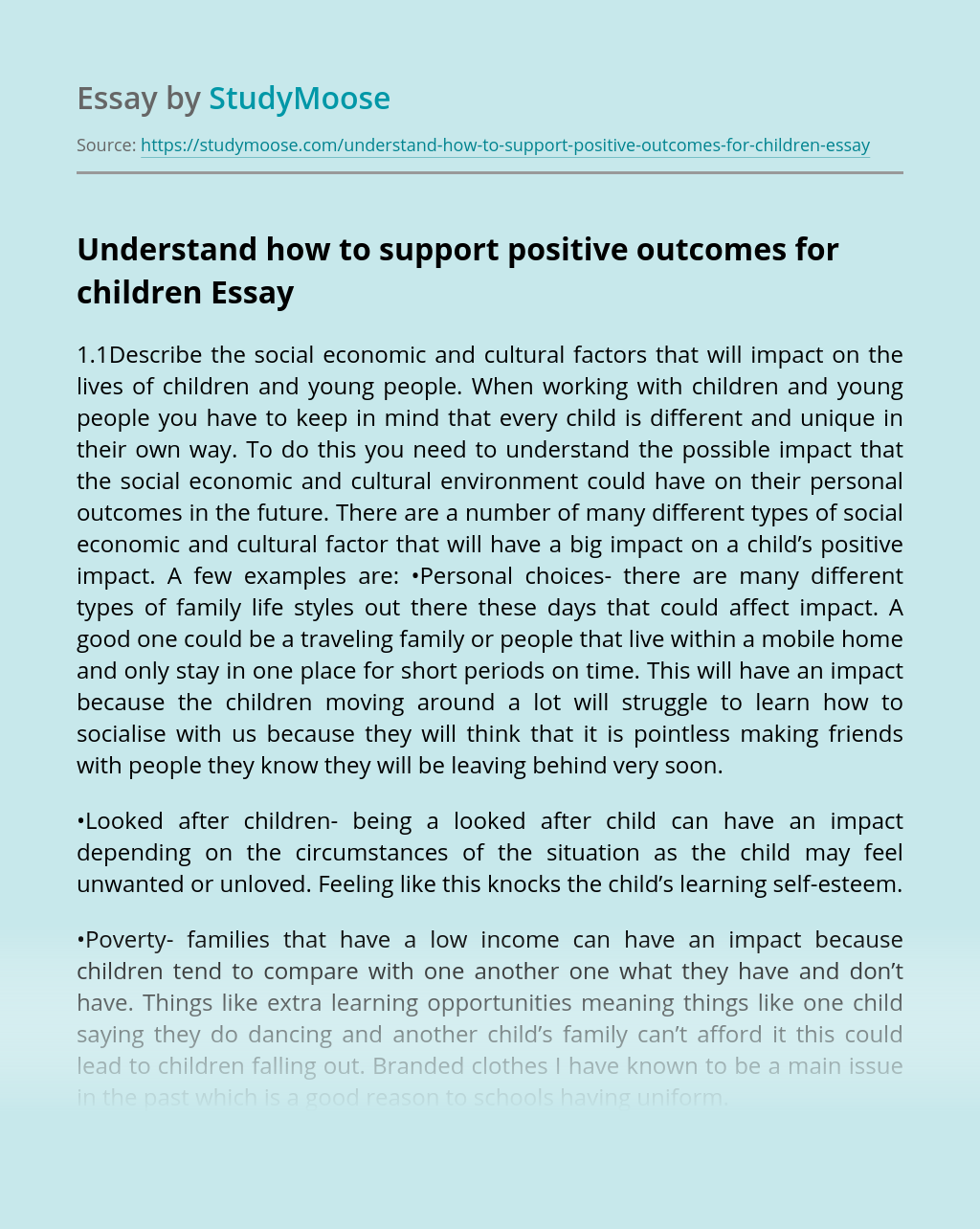 Understand how to support positive outcomes for children