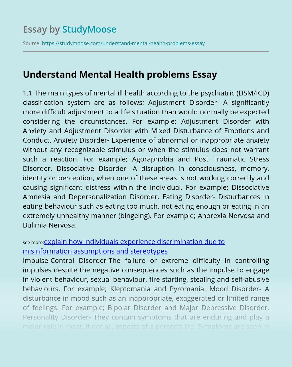 Understand Mental Health problems