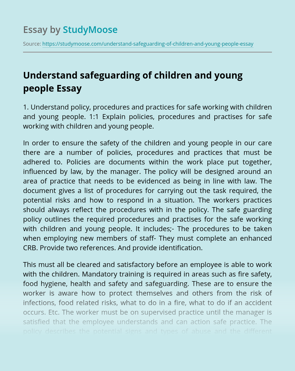 Understand safeguarding of children and young people