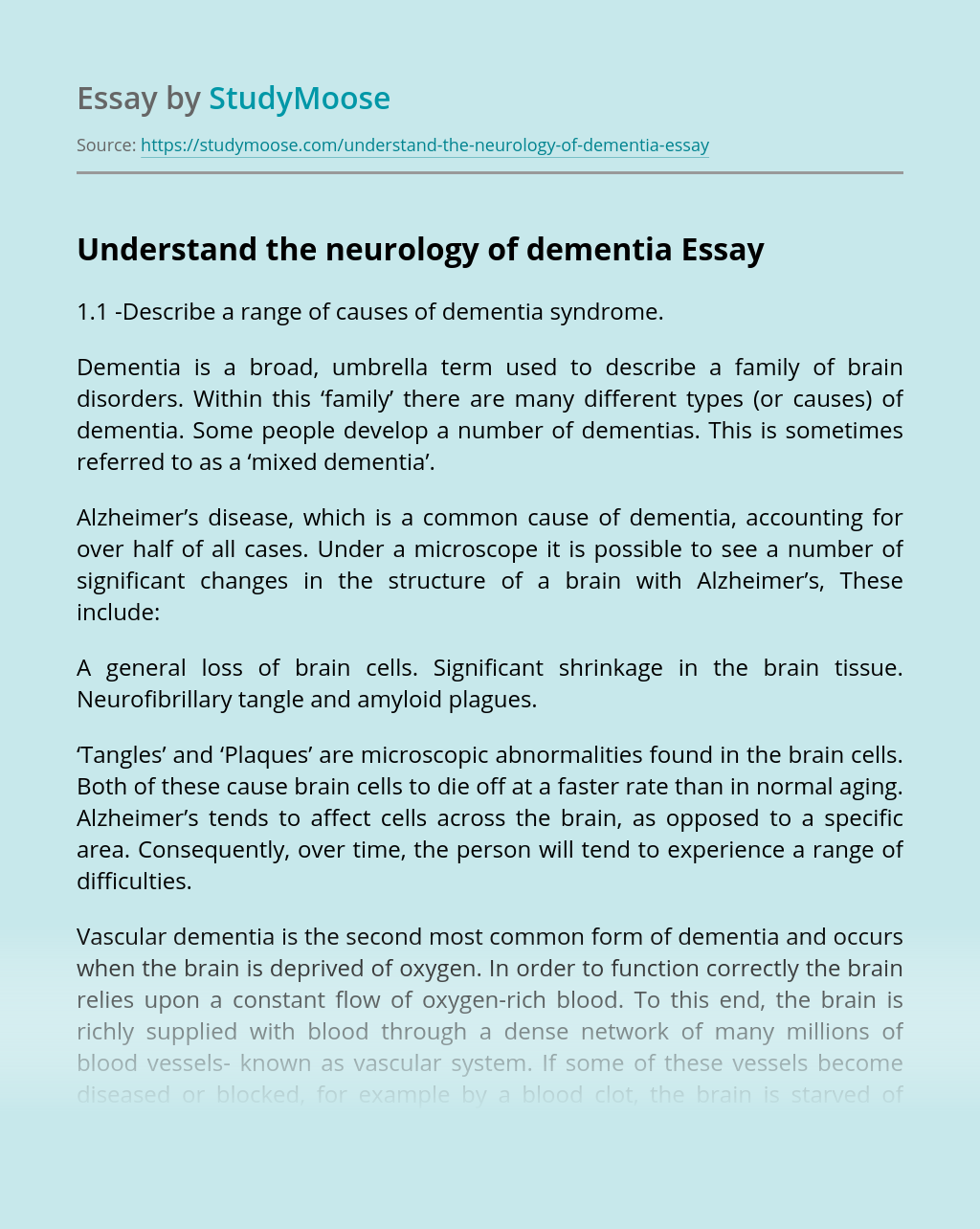 Understand the Neurology of Dementia
