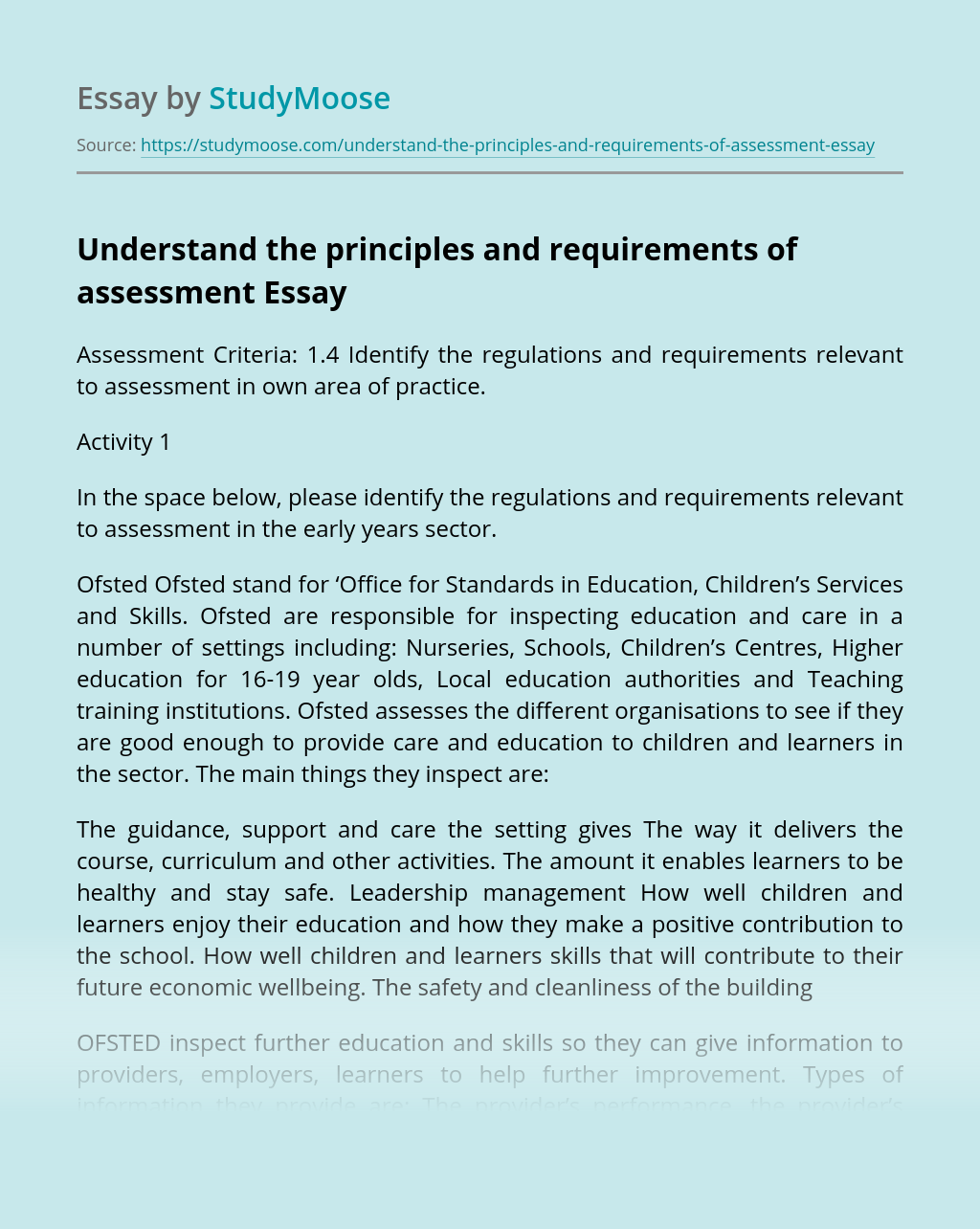 Understand the principles and requirements of assessment