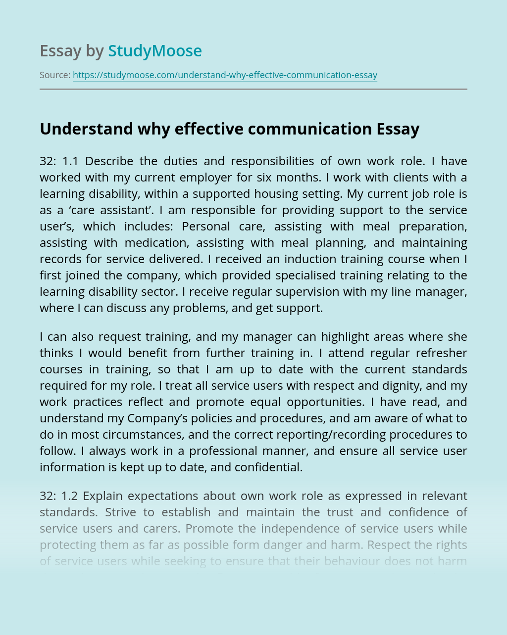 Understand why effective communication