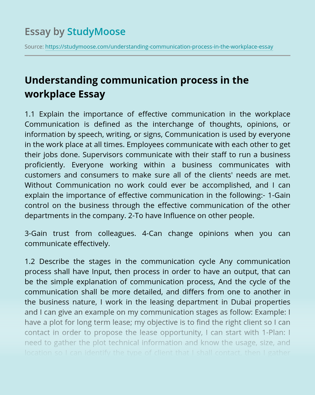 Understanding communication process in the workplace