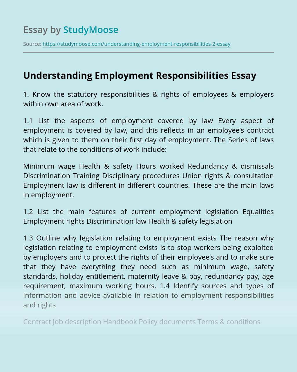 Understanding Employment Responsibilities