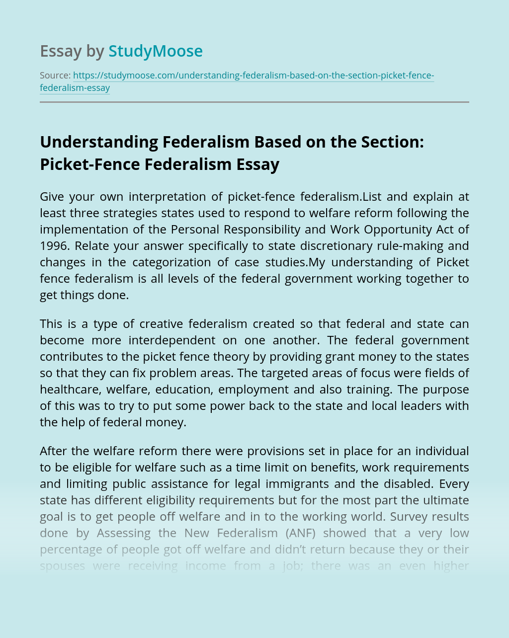 Understanding Federalism Based on the Section: Picket-Fence Federalism