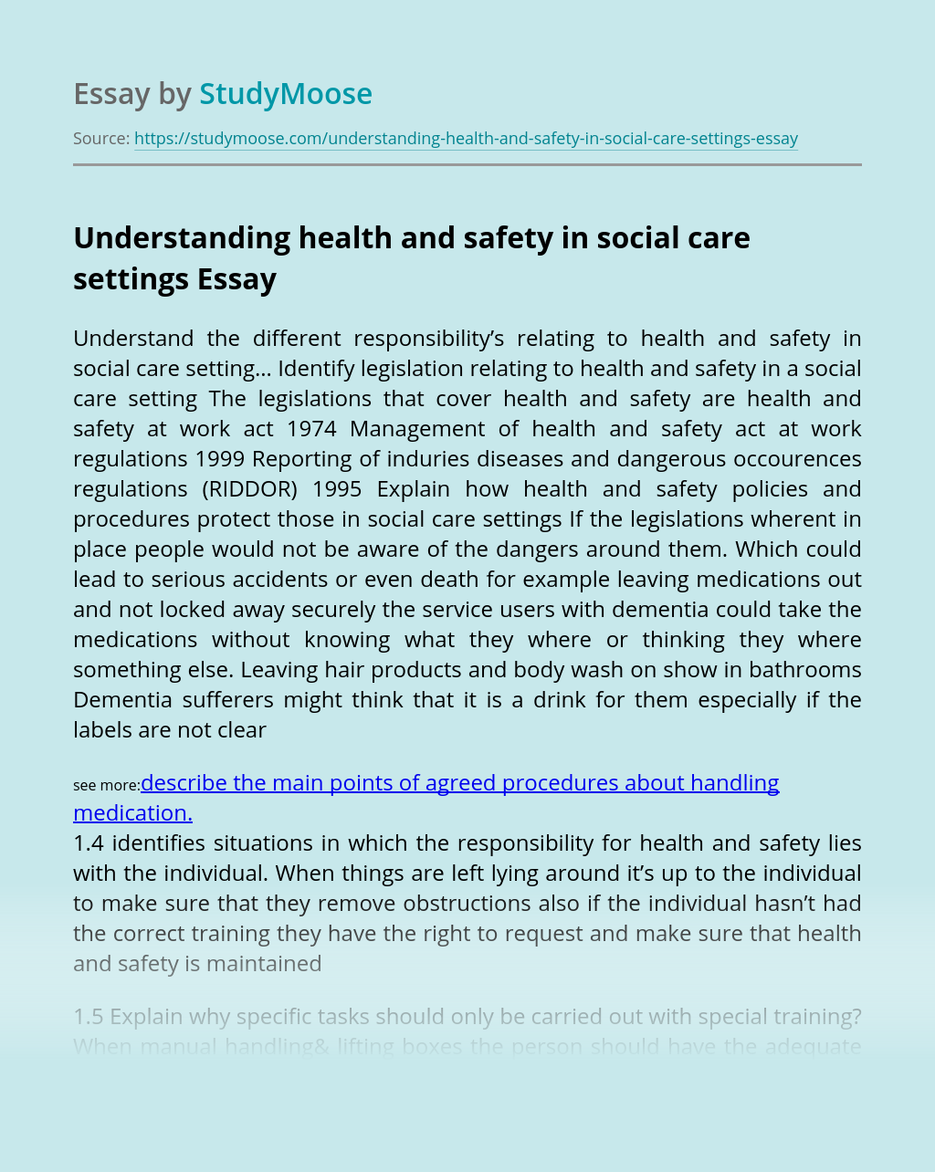 Understanding health and safety in social care settings