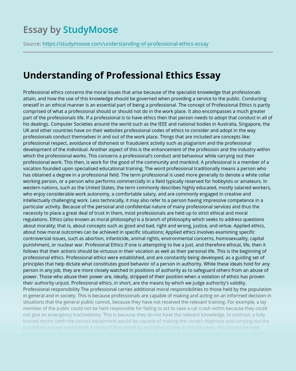Understanding of Professional Ethics