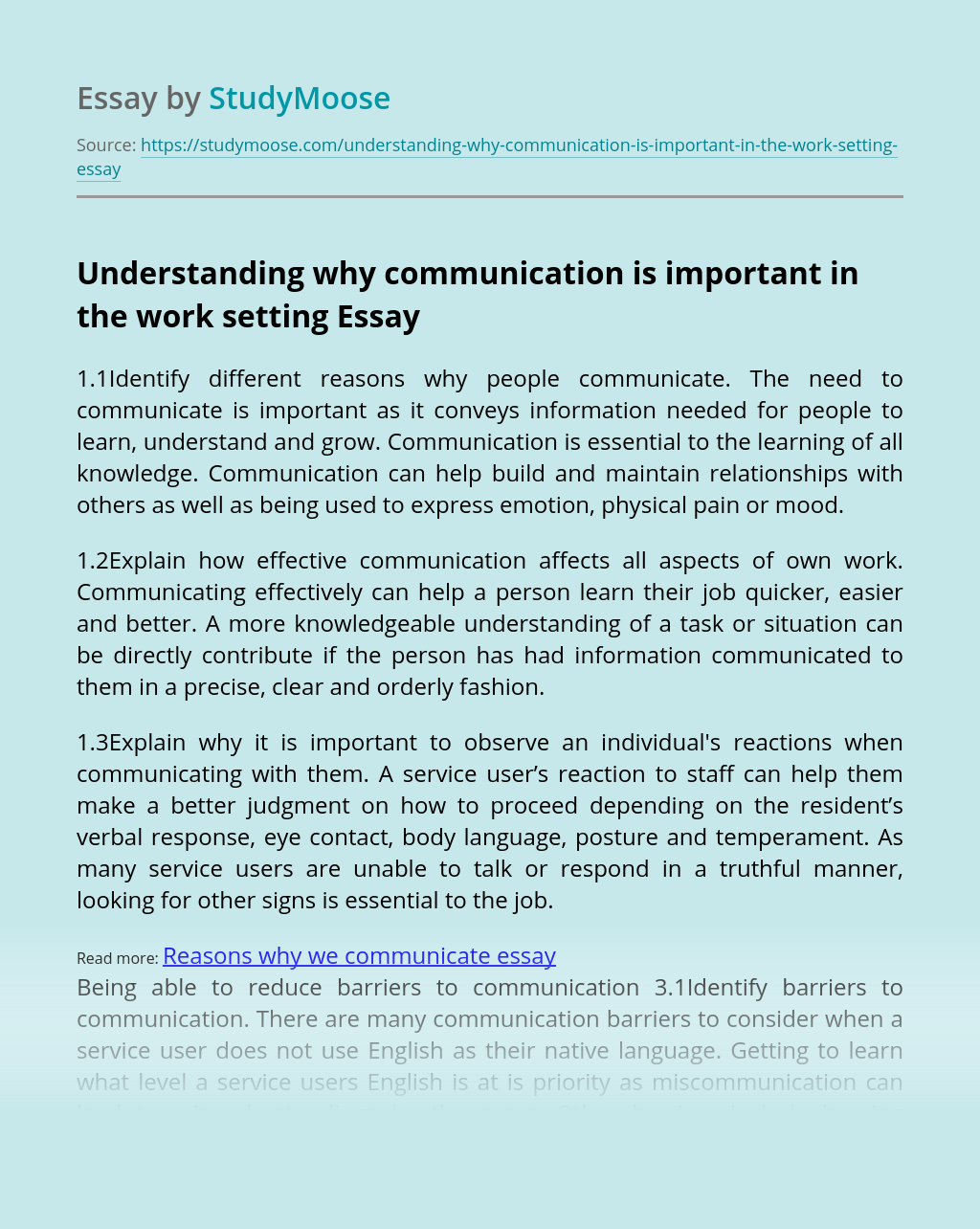 Understanding why communication is important in the work setting