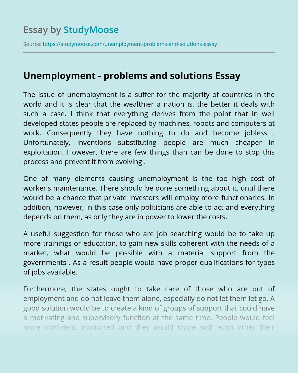 Unemployment – problems and solutions