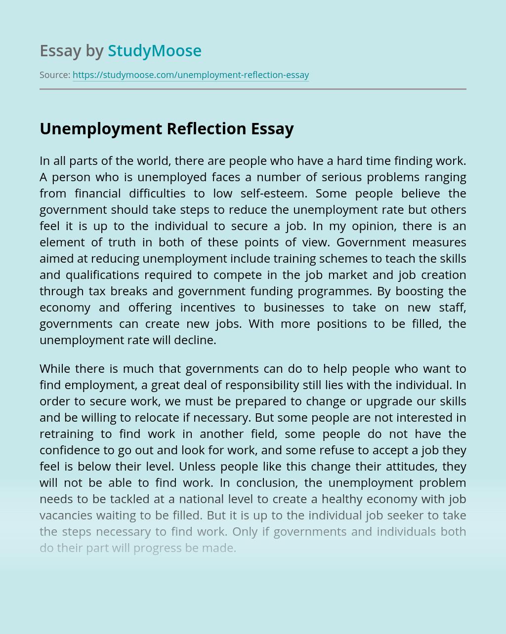 Unemployment Reflection