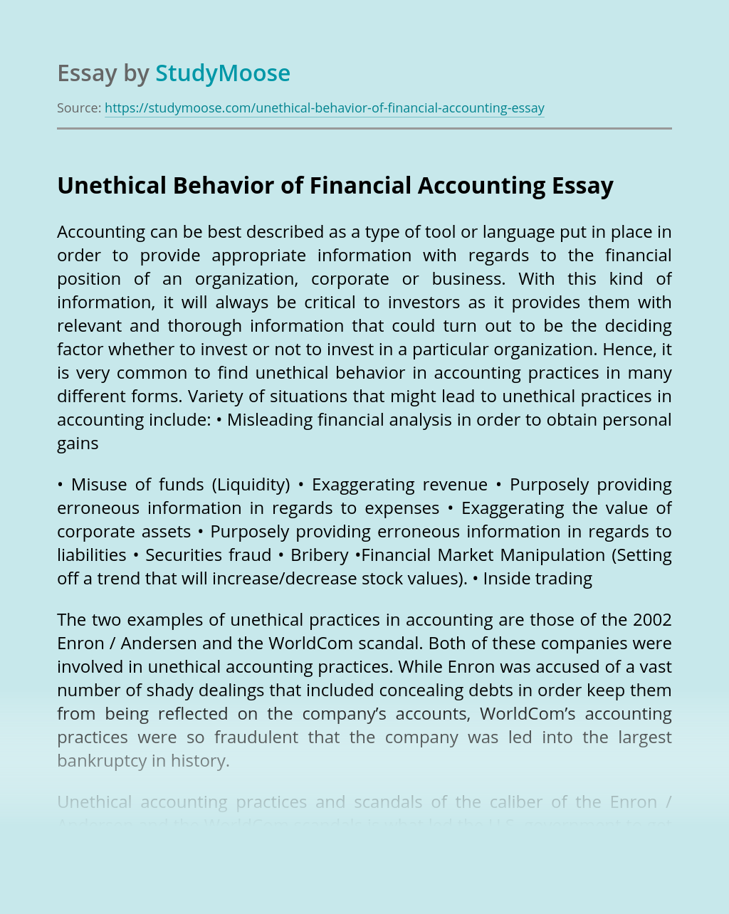 Unethical Behavior of Financial Accounting