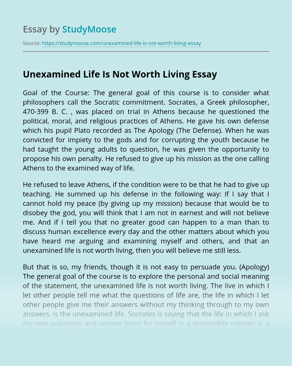 Unexamined Life Is Not Worth Living
