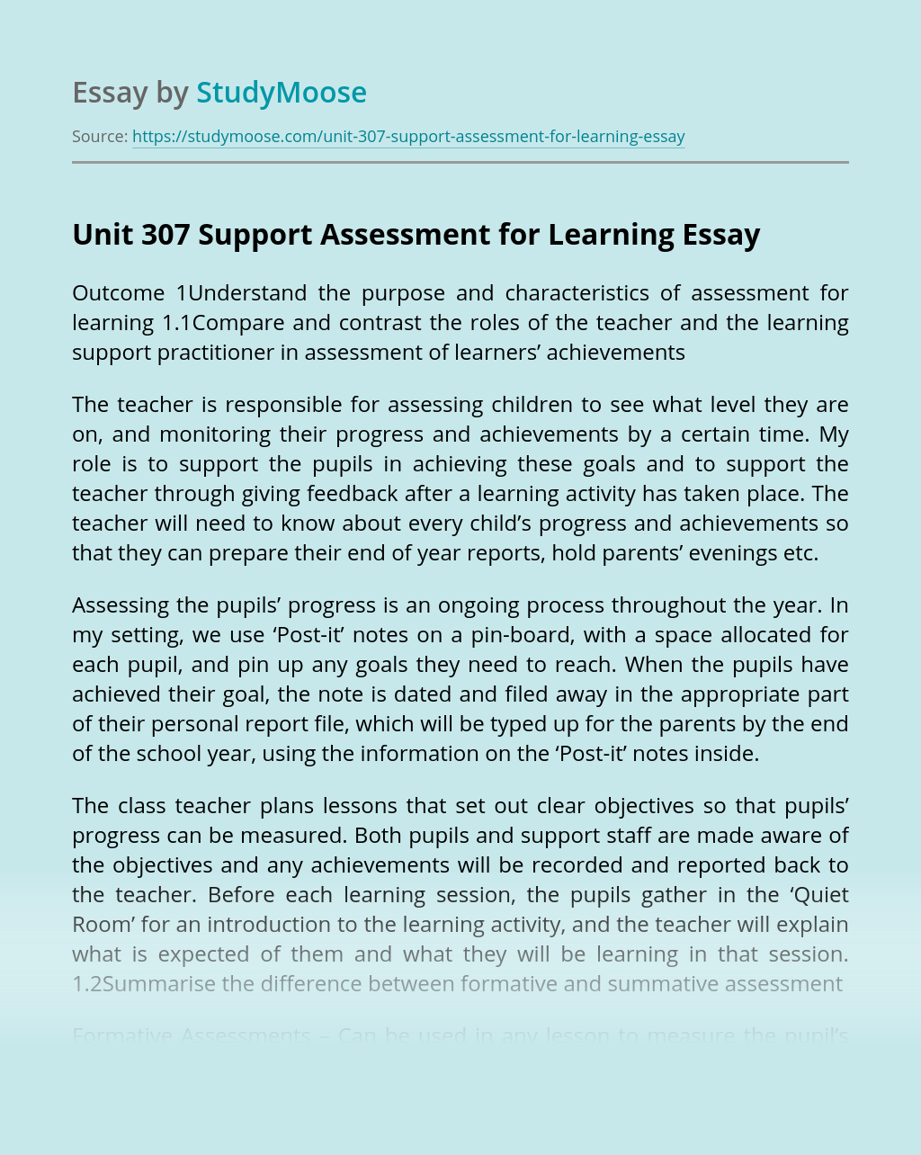 Unit 307 Support Assessment for Learning