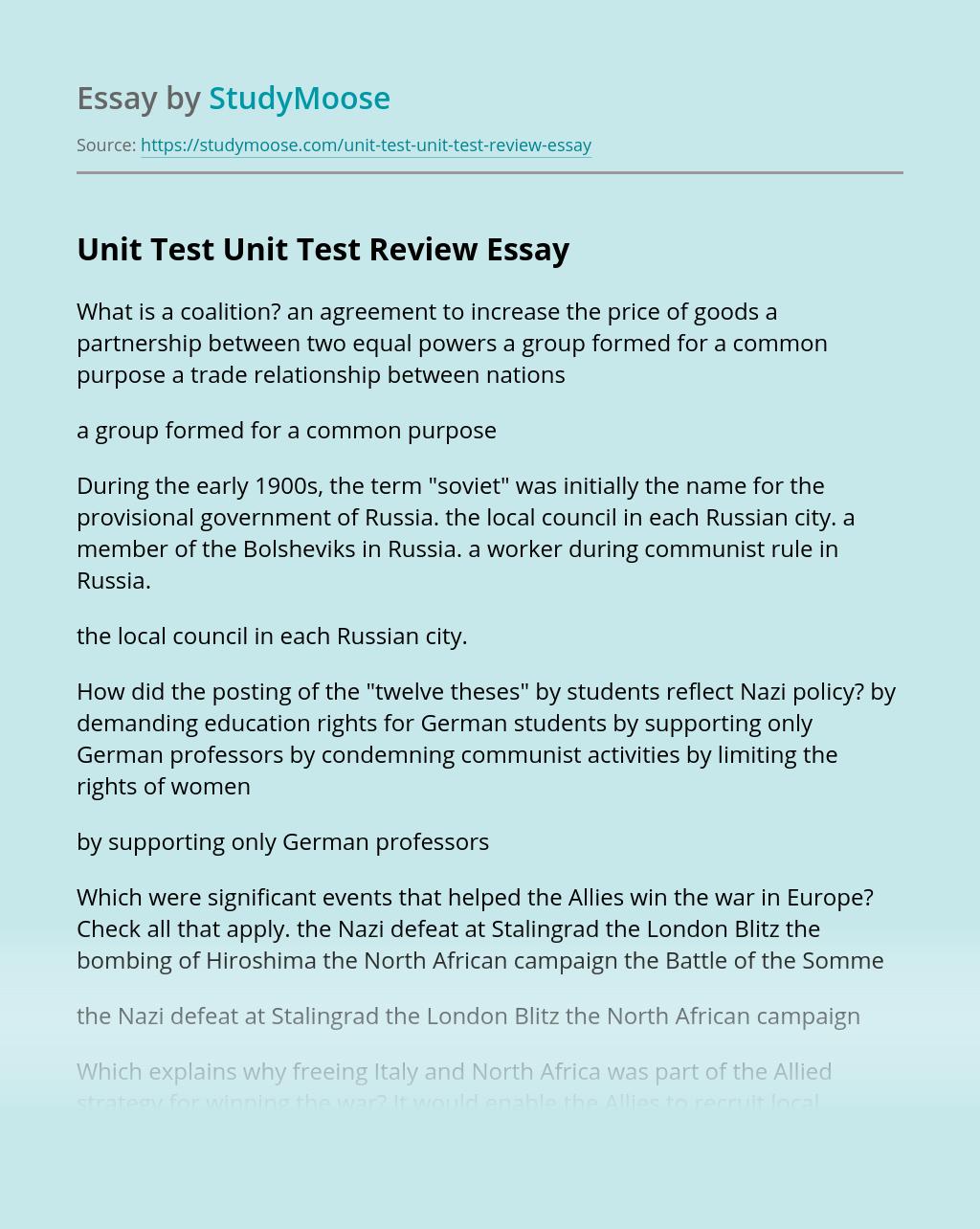 Unit Test Unit Test Review