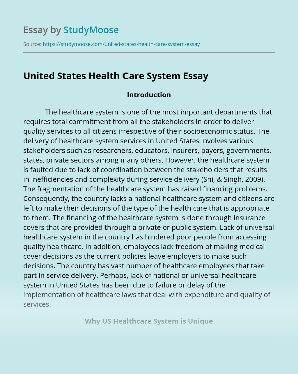 United States Health ?are System