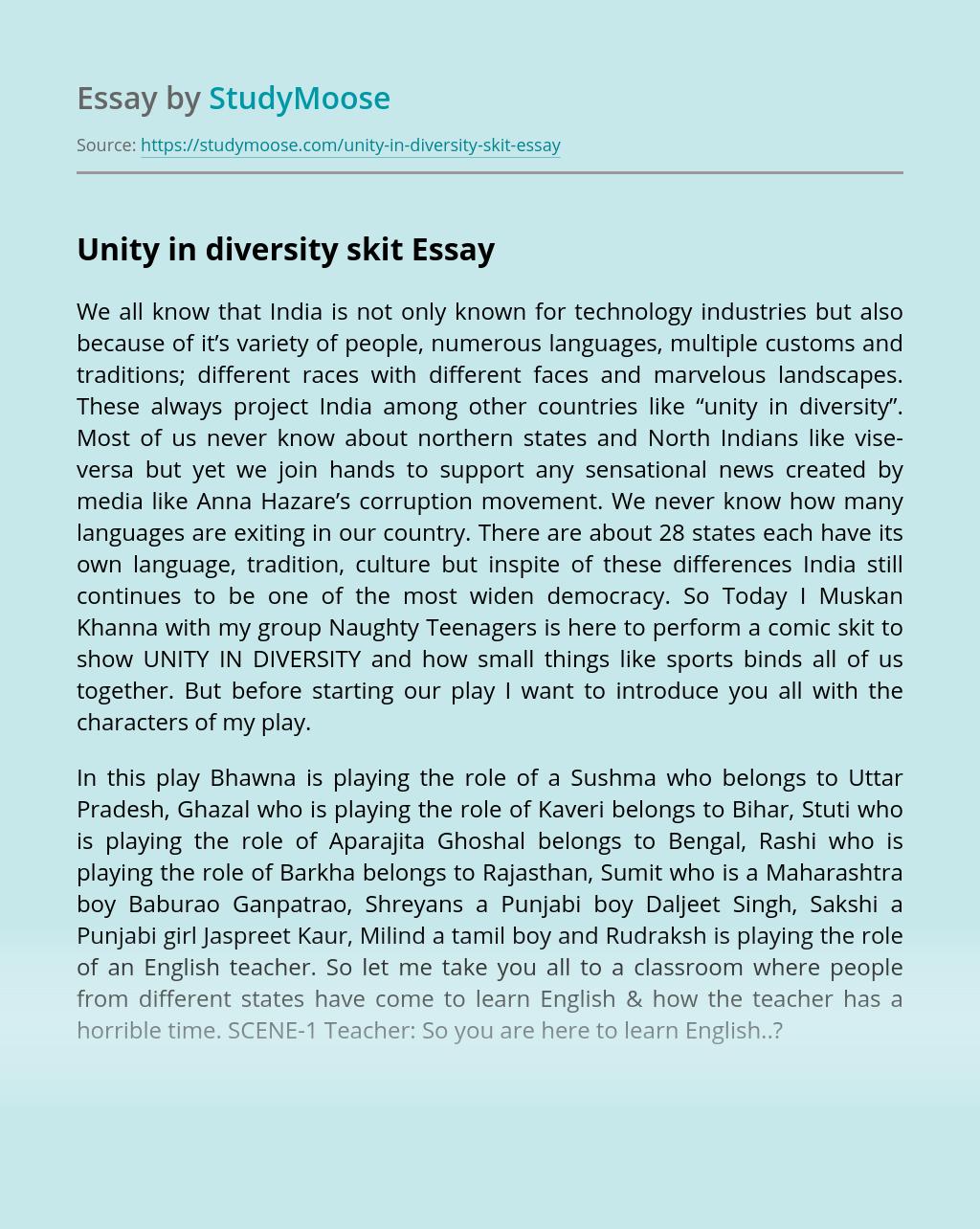 Unity in diversity skit