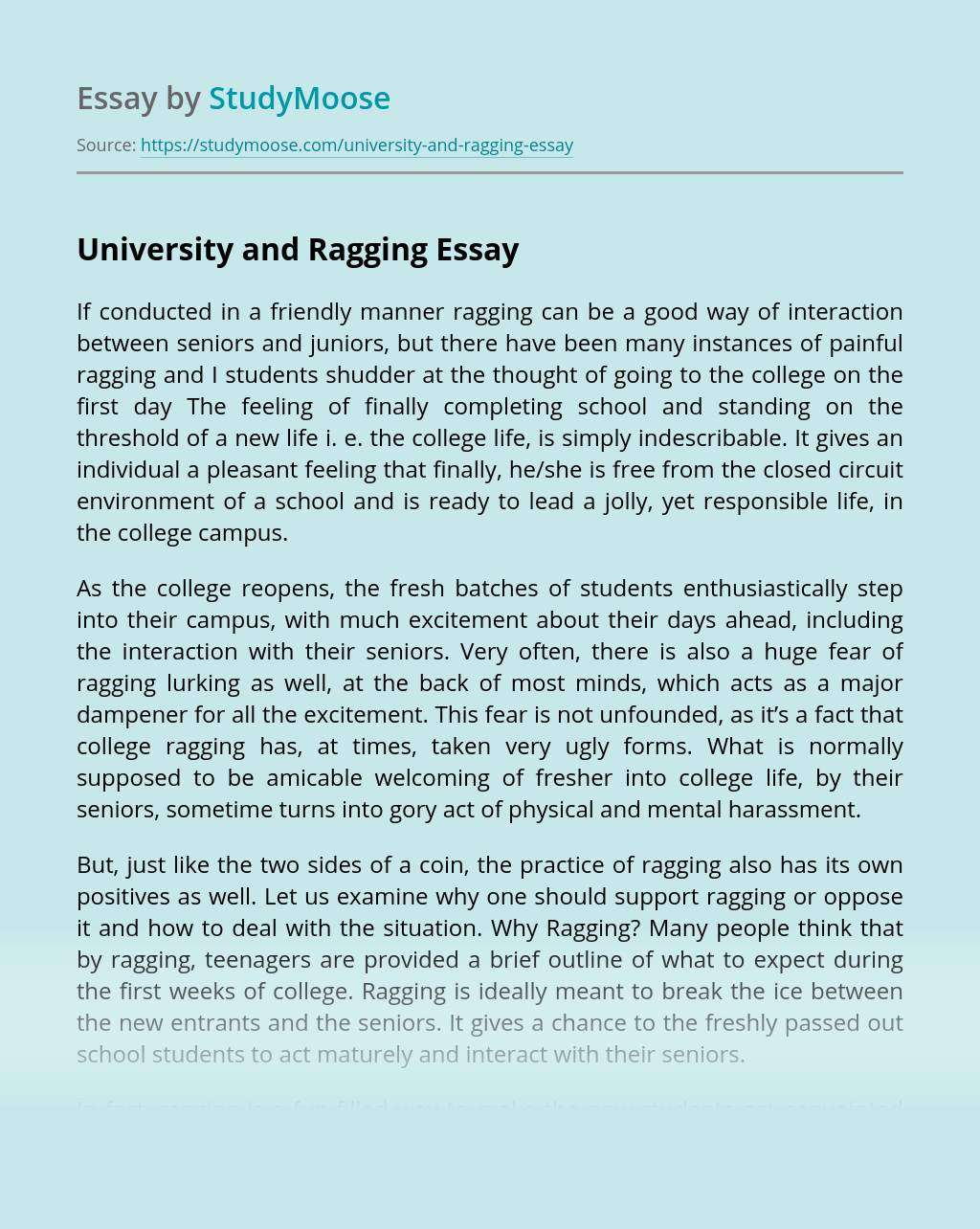 University and Ragging