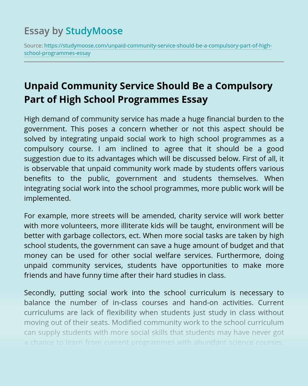 Unpaid Community Service Should Be a Compulsory Part of High School Programmes