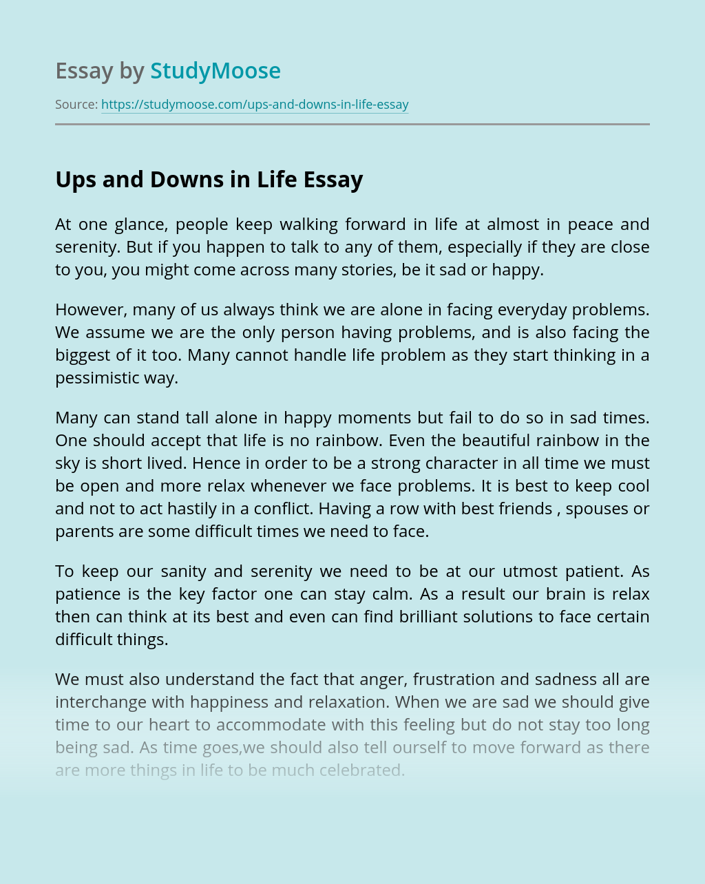 Ups And Downs In Life Free Essay Example