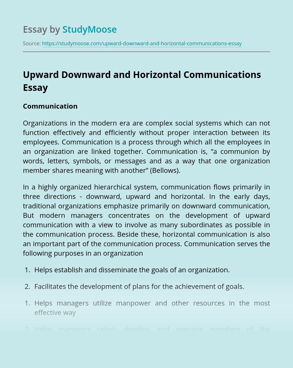 Upward Downward and Horizontal Communications