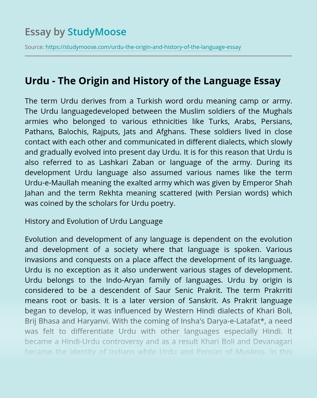 ?Urdu - The Origin and History of the Language