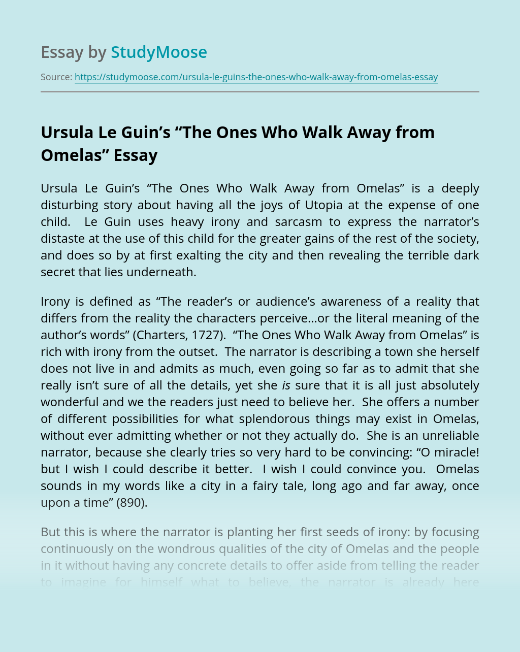 "Ursula Le Guin's ""The Ones Who Walk Away from Omelas"""