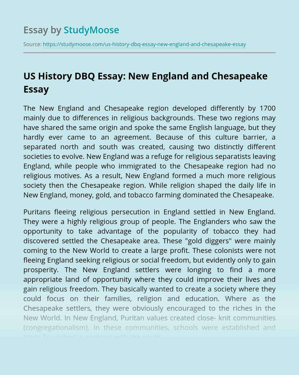 US History DBQ Essay: New England and Chesapeake