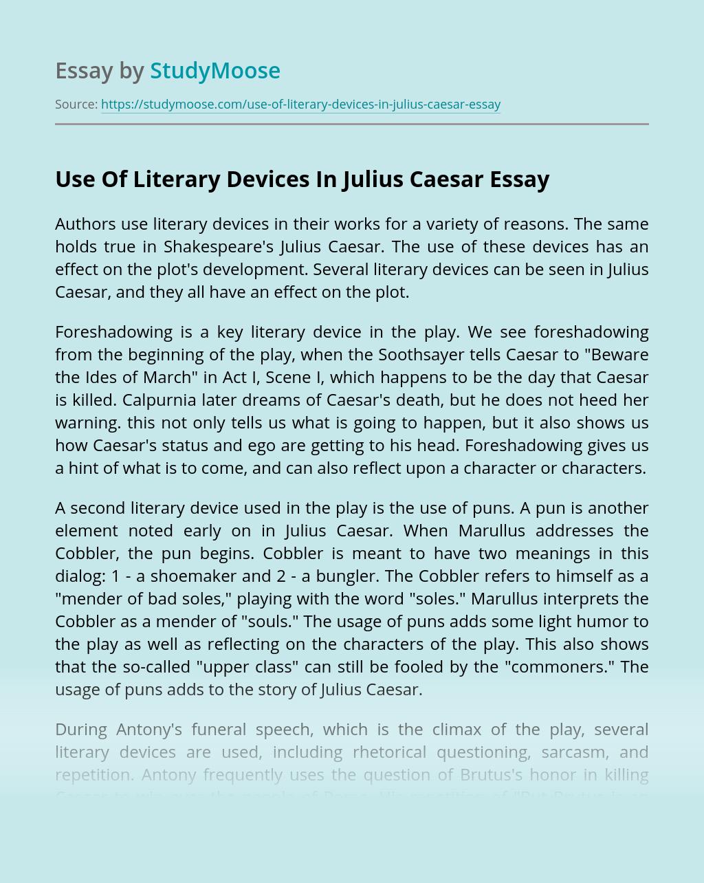 Use Of Literary Devices In Julius Caesar