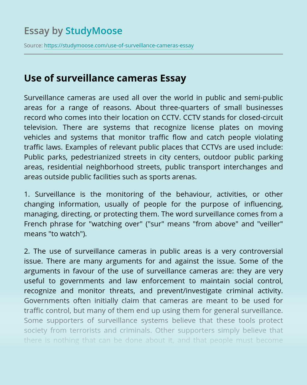 Use of surveillance cameras