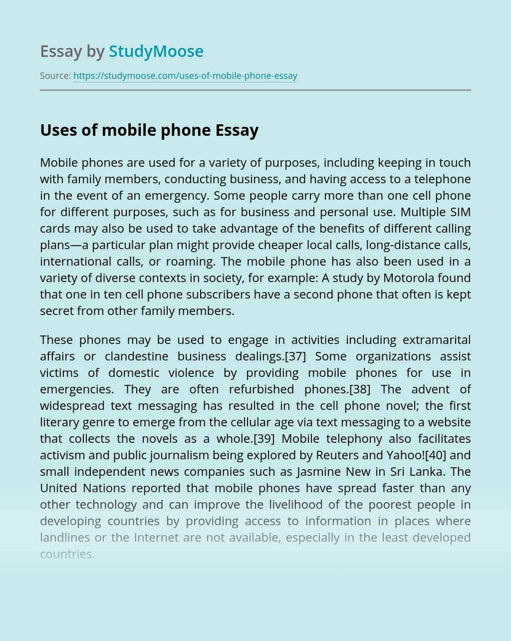 Uses of mobile phone