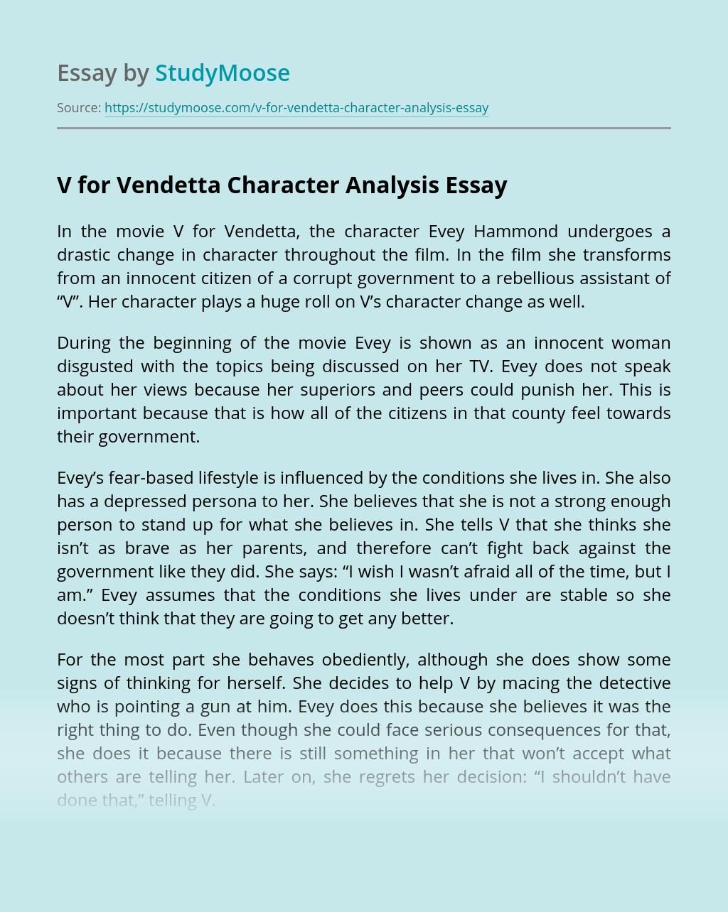 V for Vendetta Character Analysis