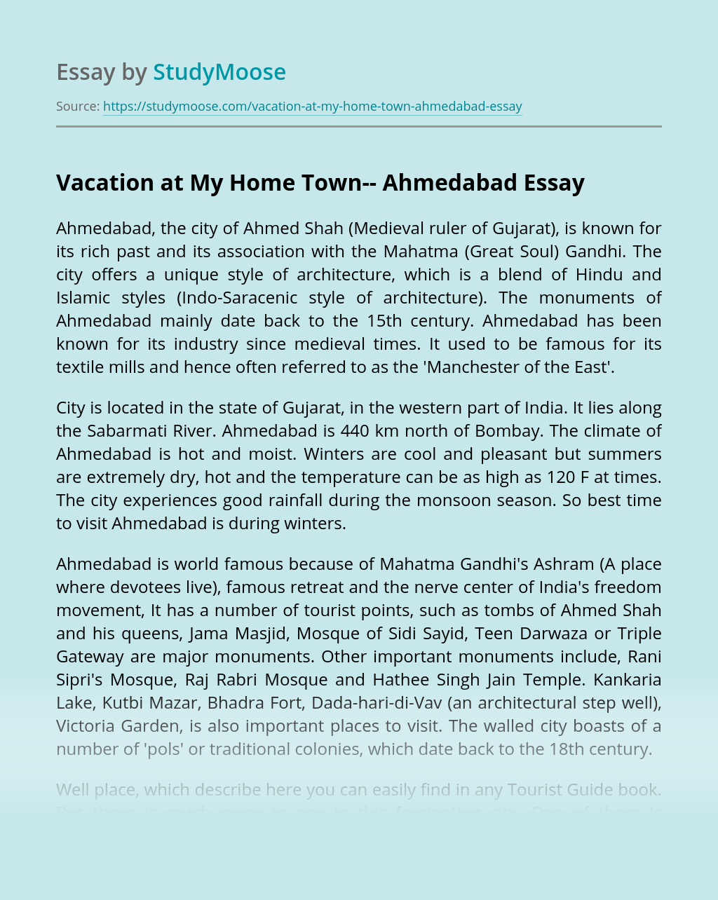 Vacation at My Home Town– Ahmedabad