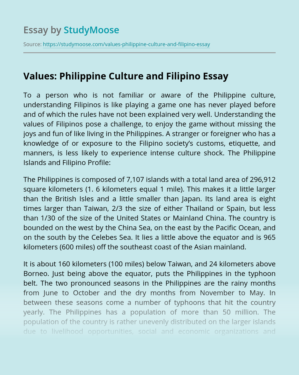 Values: Philippine Culture and Filipino