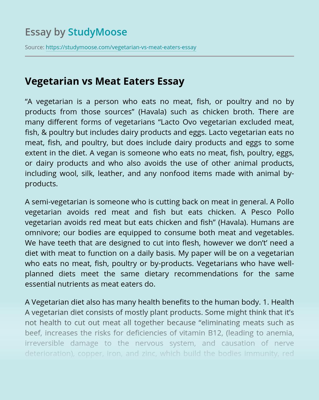 Vegetarian vs Meat Eaters