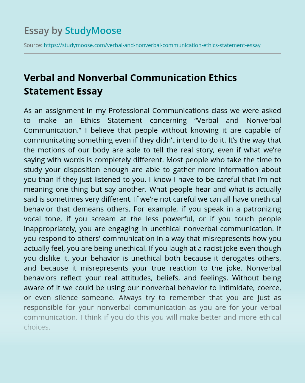 Verbal and Nonverbal Communication Ethics Statement