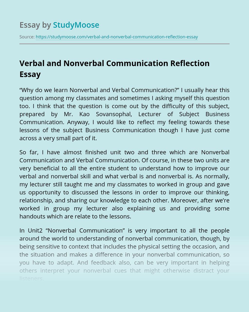 Verbal and Nonverbal Communication Reflection