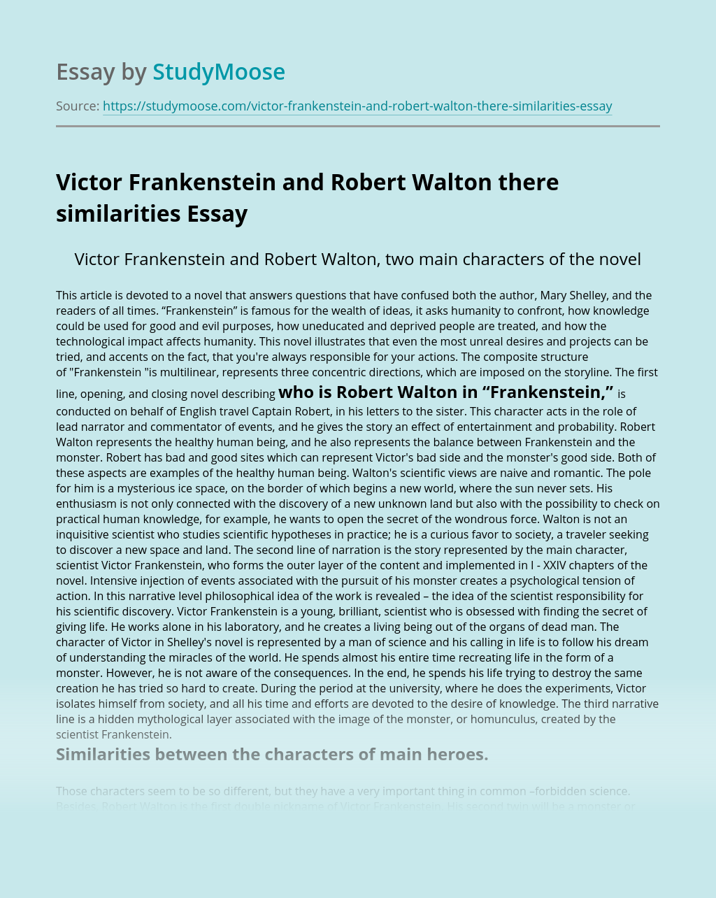 Victor Frankenstein and Robert Walton there similarities