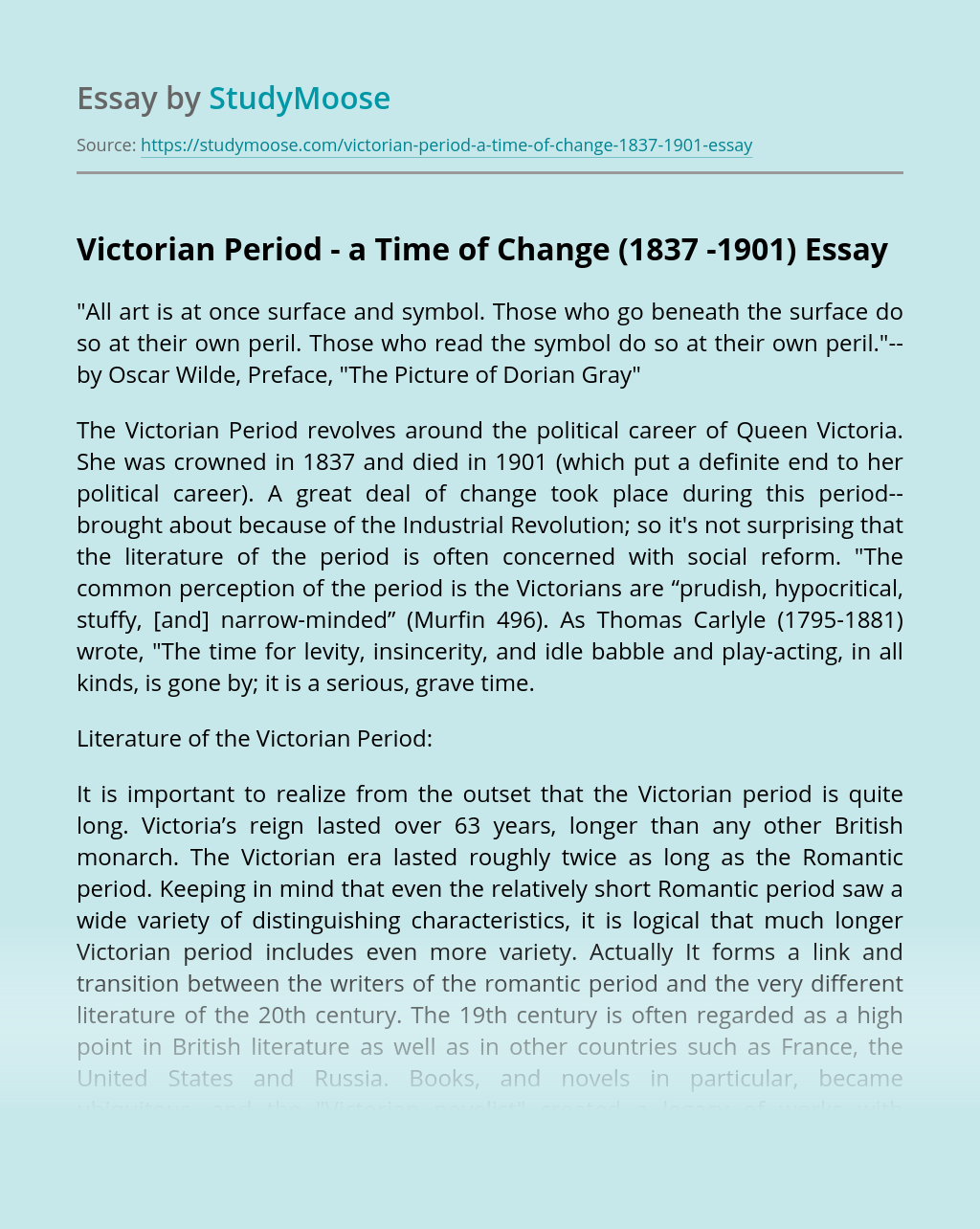 Victorian Period - a Time of Change (1837 -1901)