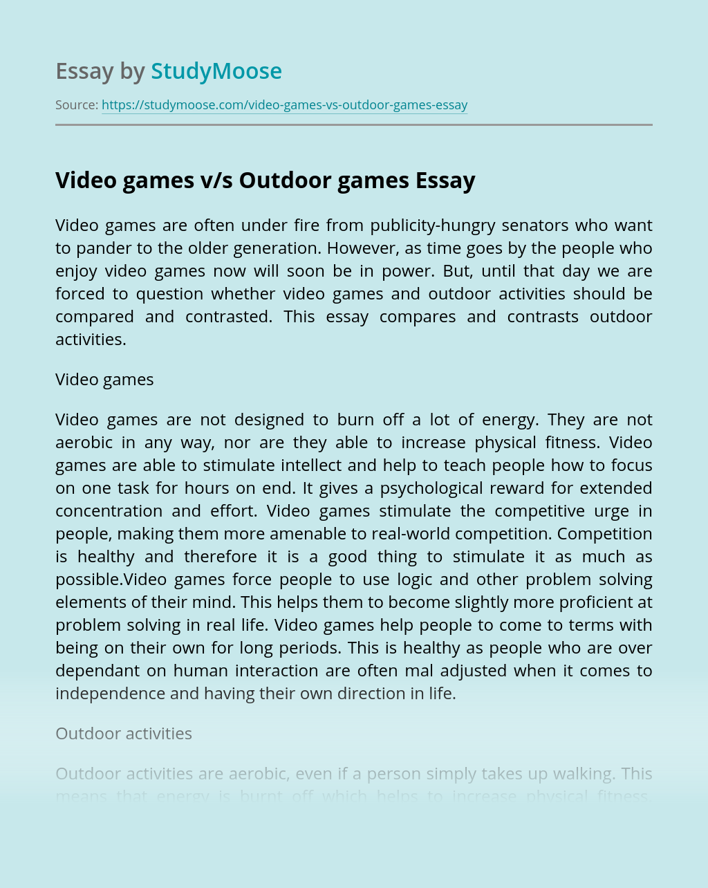Video games v/s Outdoor games