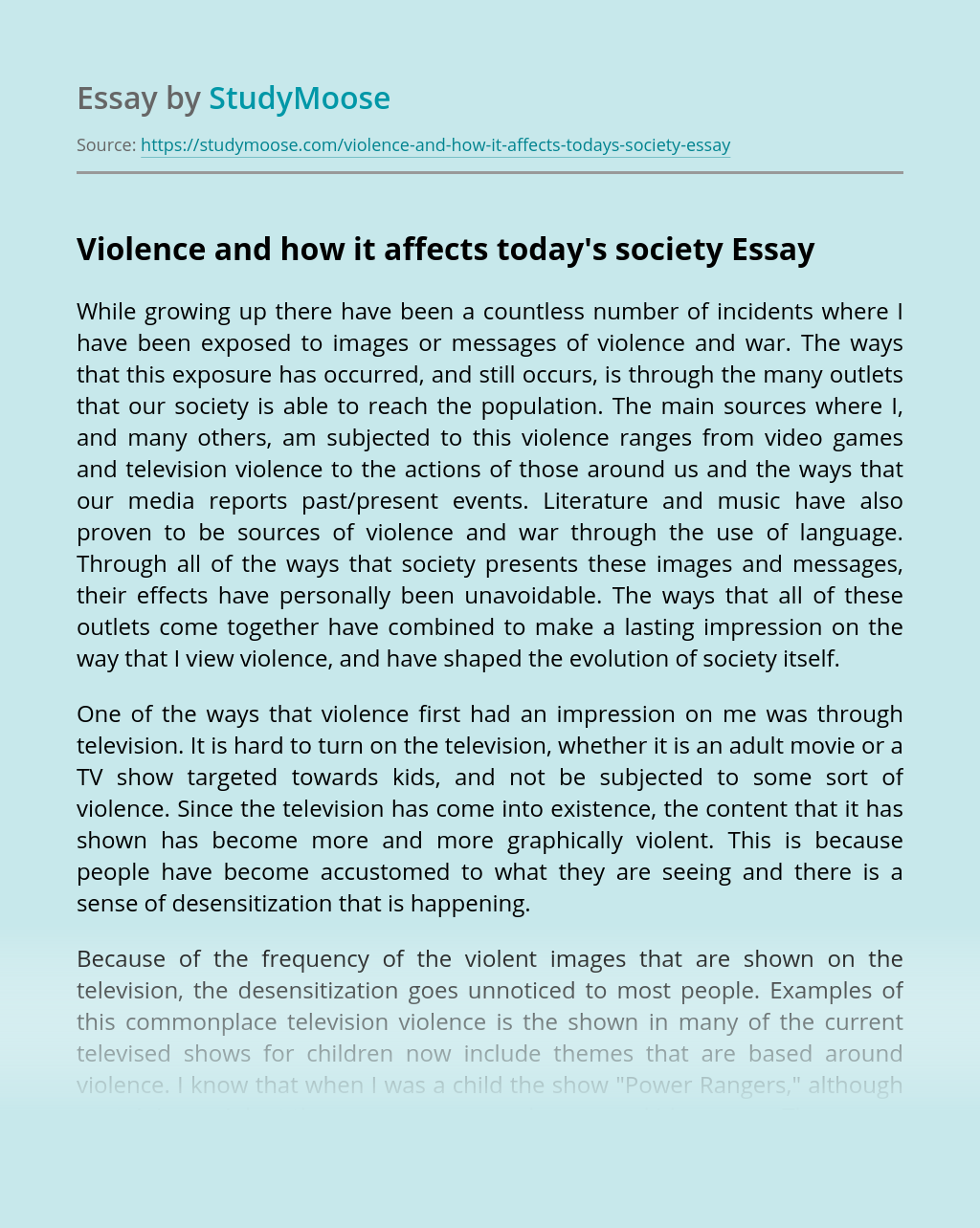 Violence and how it affects today's society