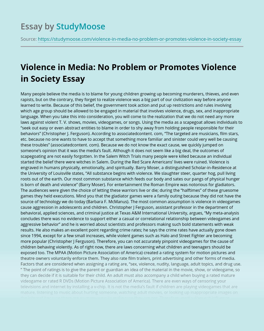 Dissertation on media violence