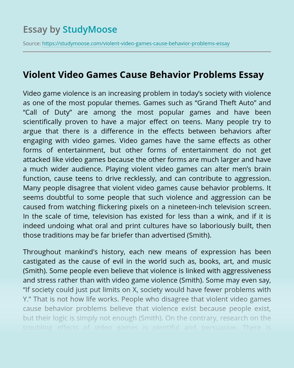 Essay about violent video games