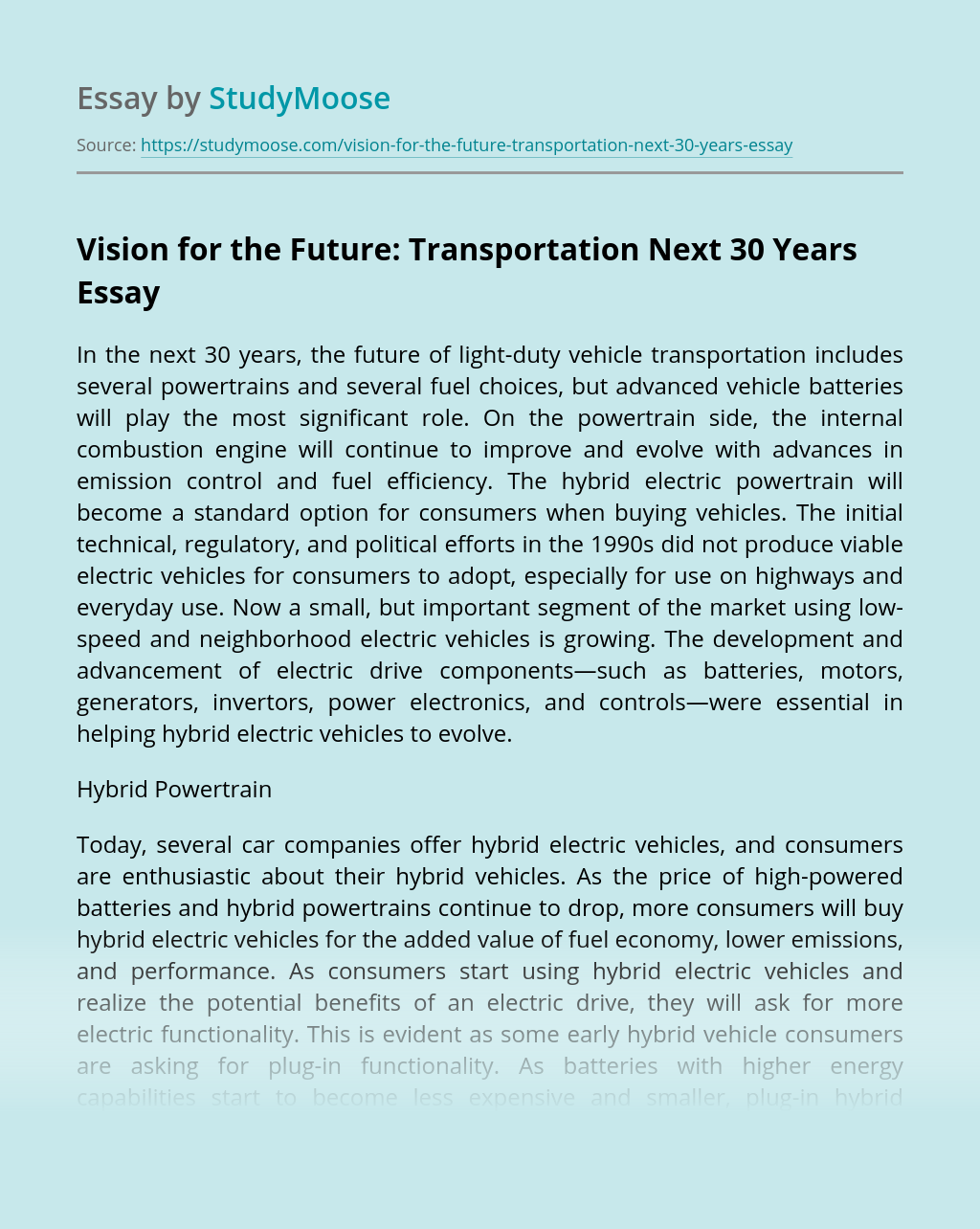 Vision for the Future: Transportation Next 30 Years