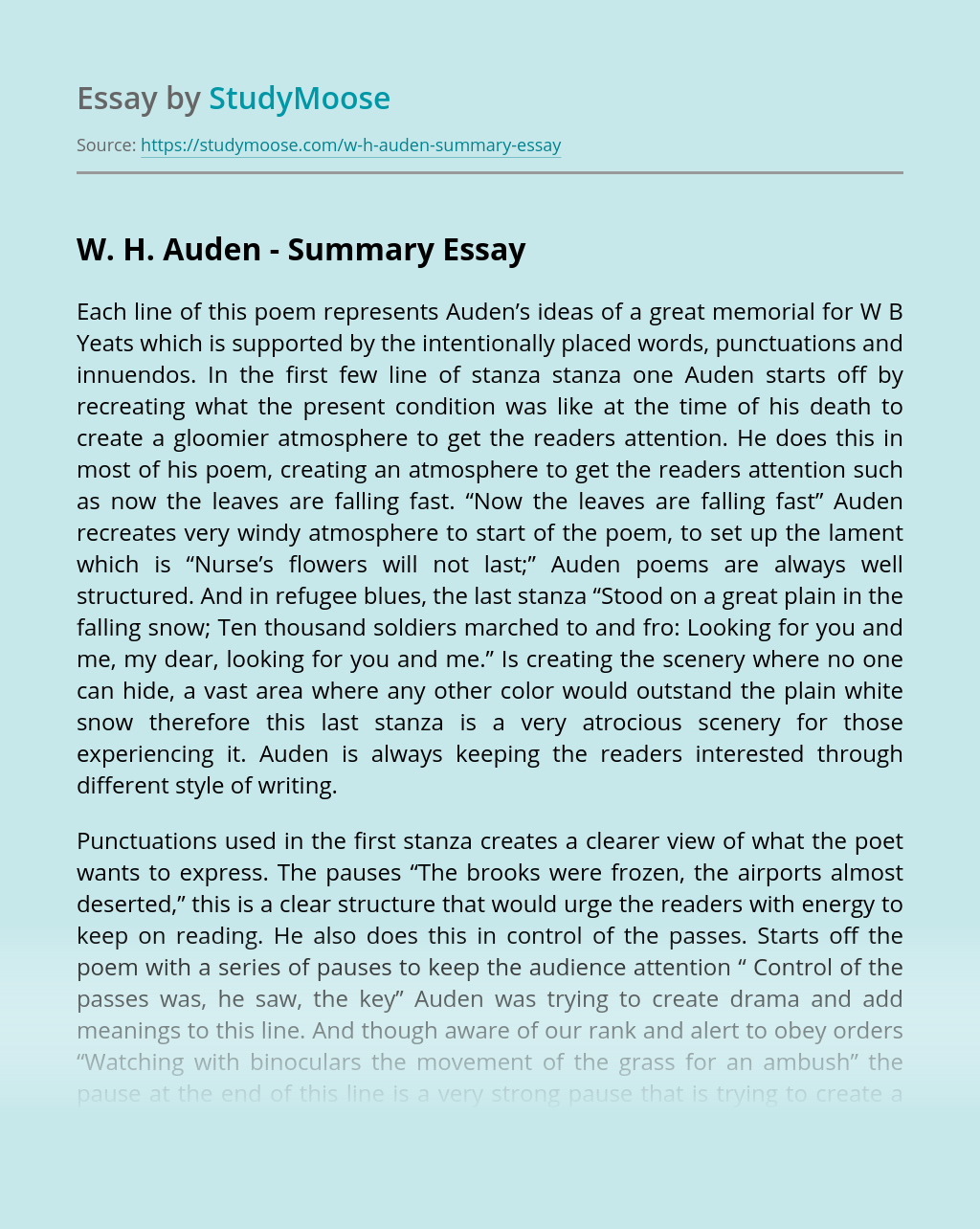 W. H. Auden - Summary