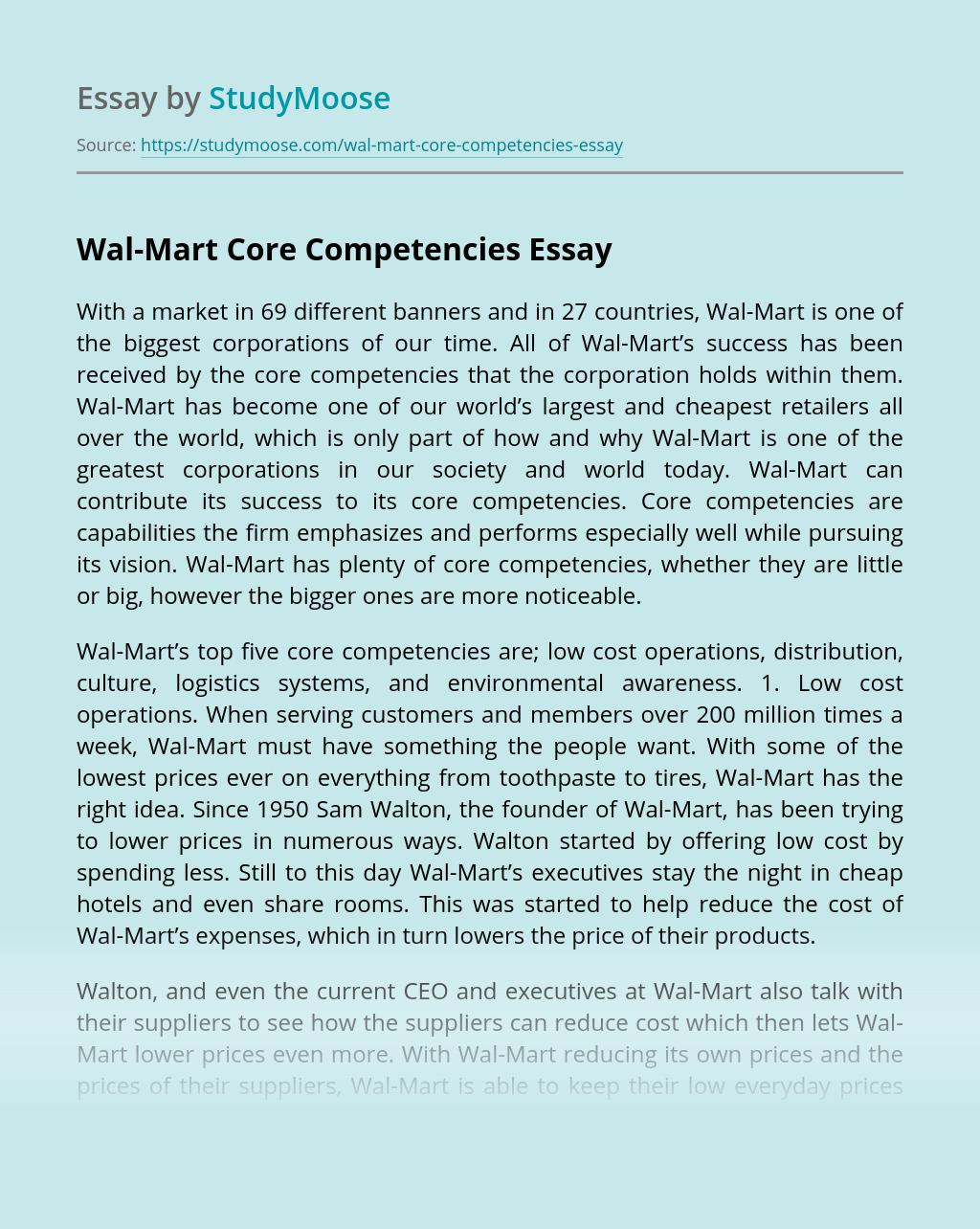 Wal-Mart Core Competencies