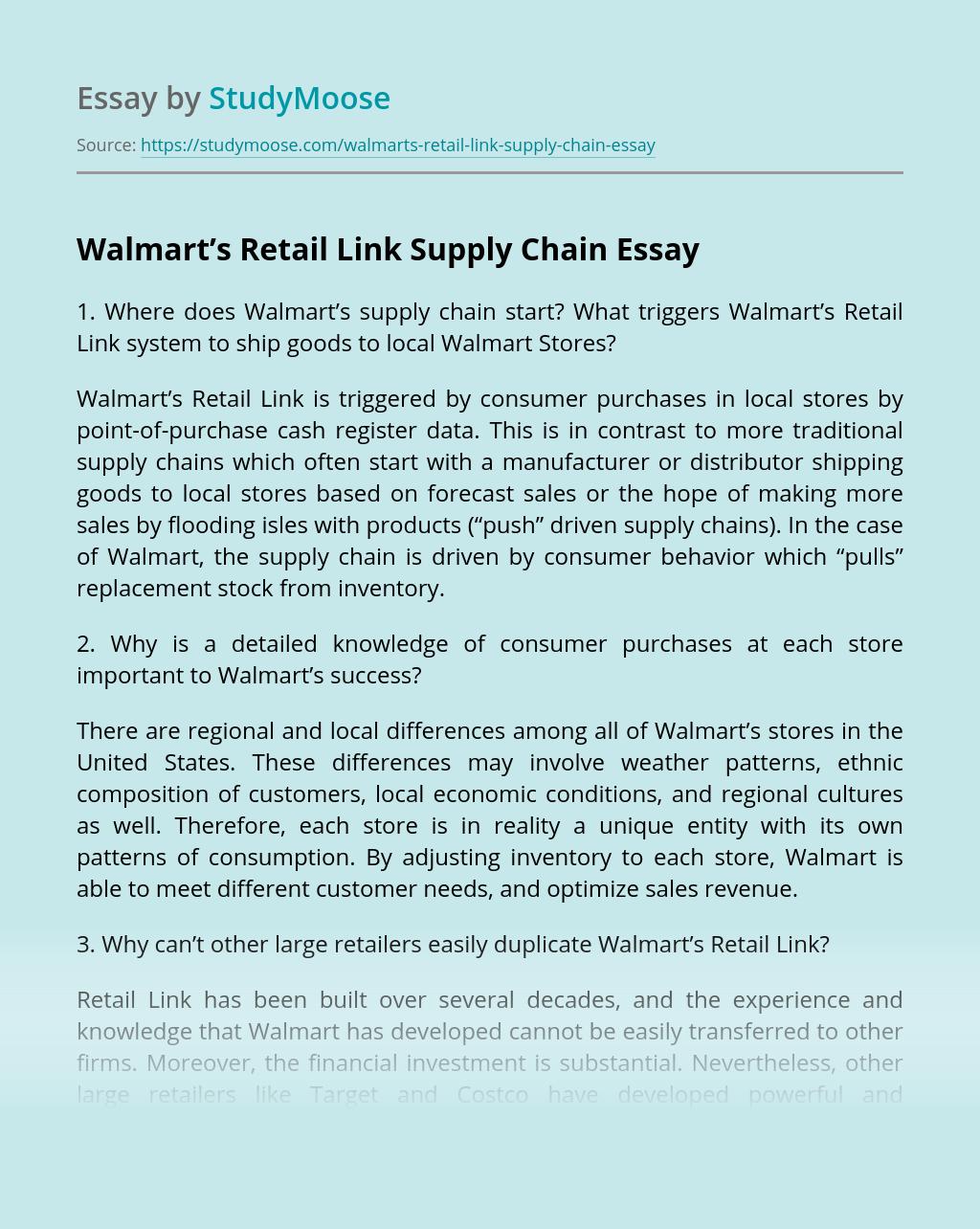 Walmart's Retail Link Supply Chain