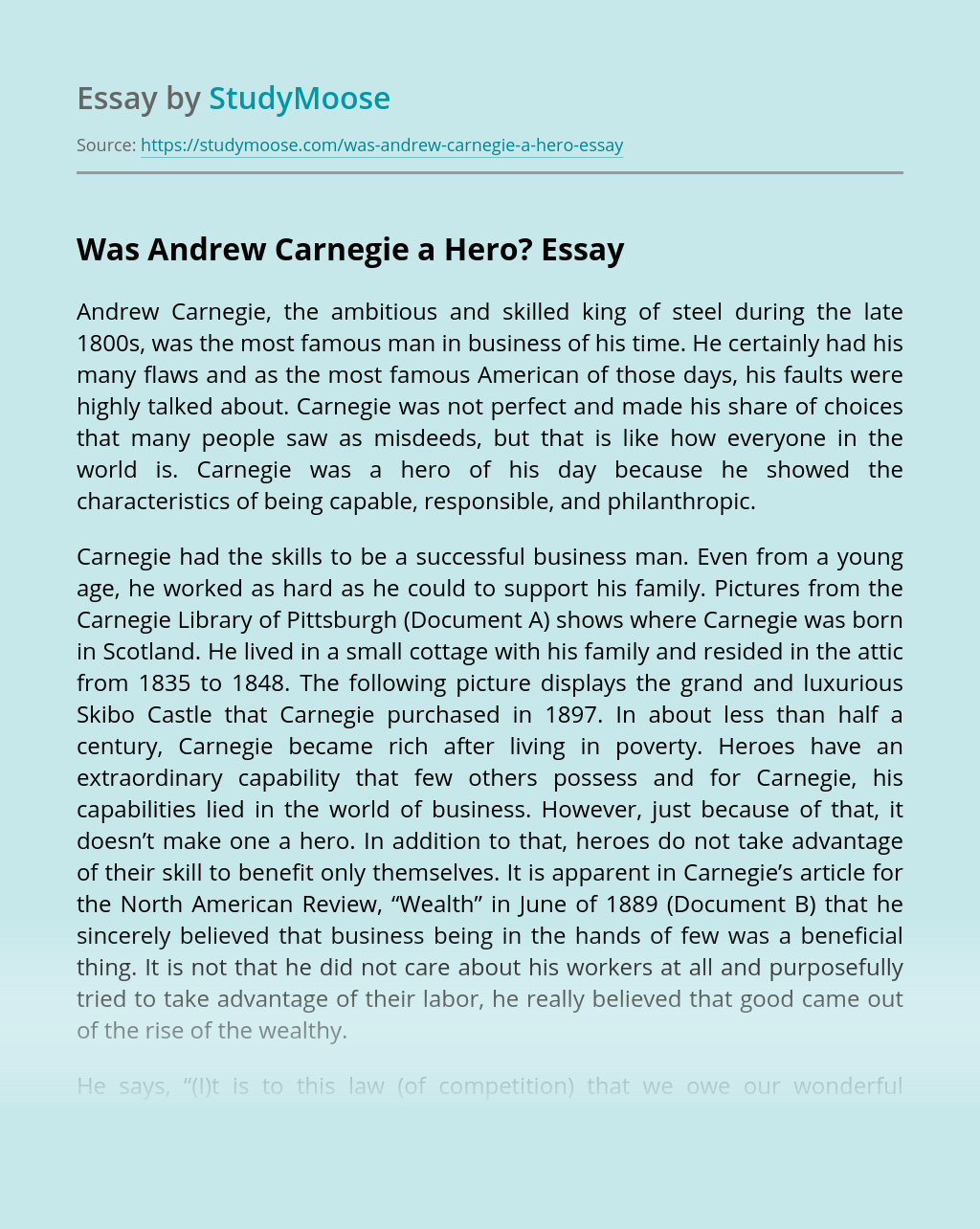 Was Andrew Carnegie a Hero?