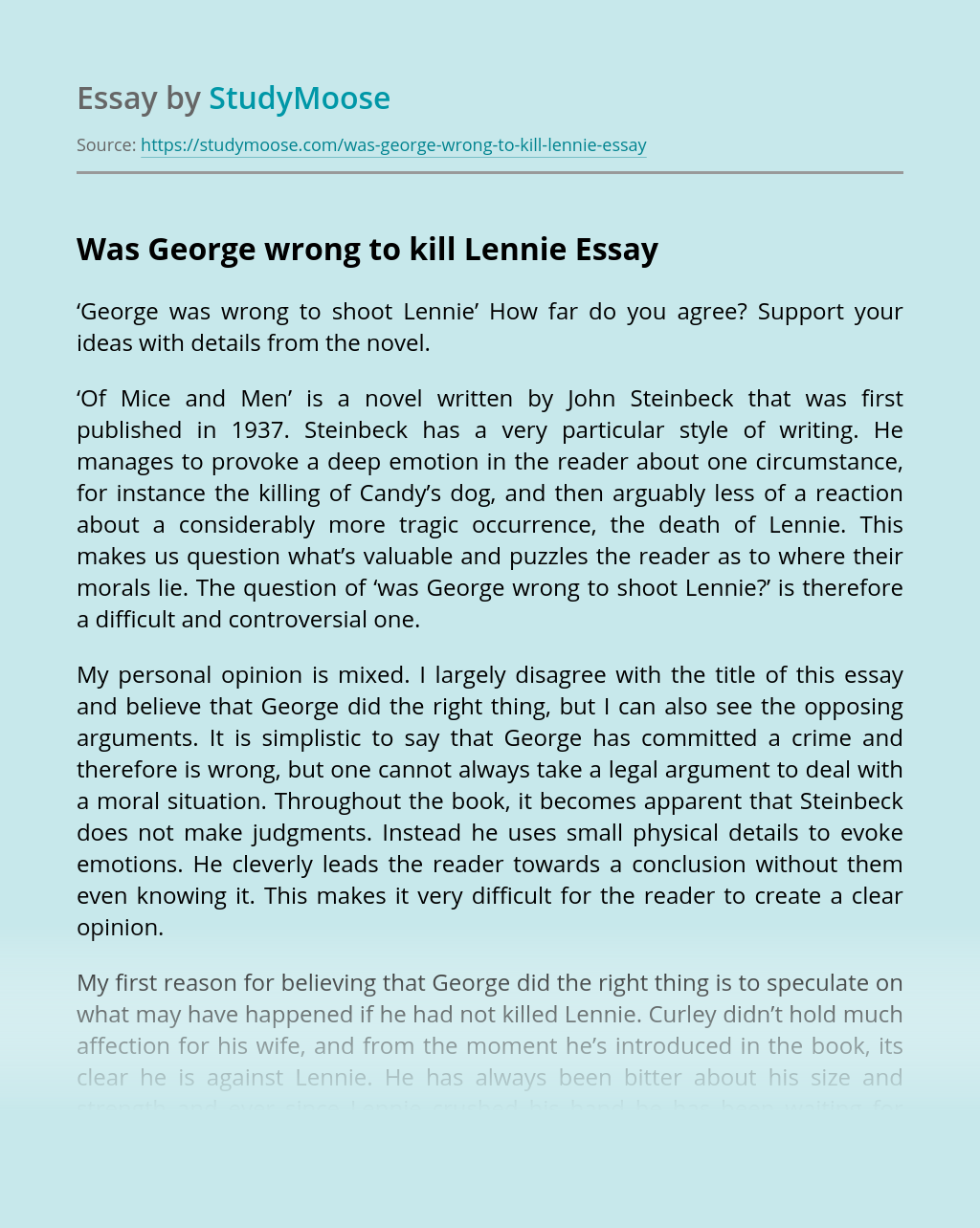 Was George wrong to kill Lennie