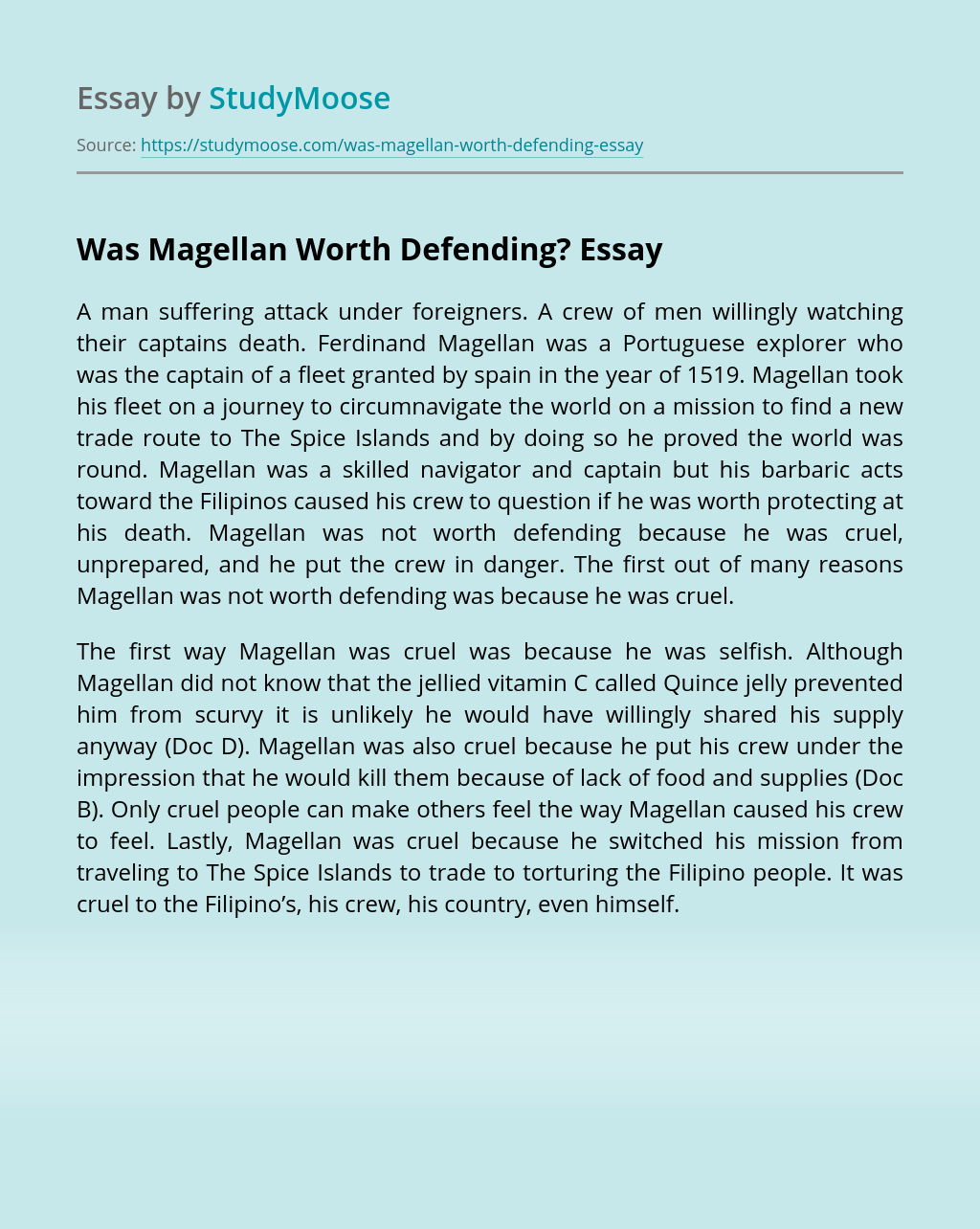 Was Magellan Worth Defending?